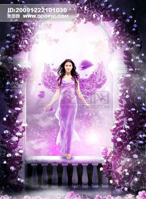 关键词: 梦幻女神 女神 仙女 美女 女性 女人 翅膀 花瓣 花框 边框