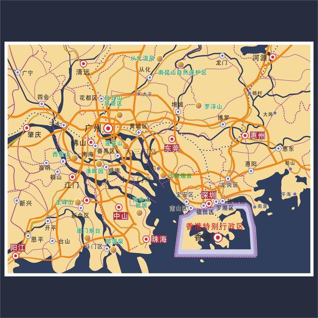 地图展板 香港 深圳 东莞 珠海 广州 交通地图 说明:珠三角矢量地图