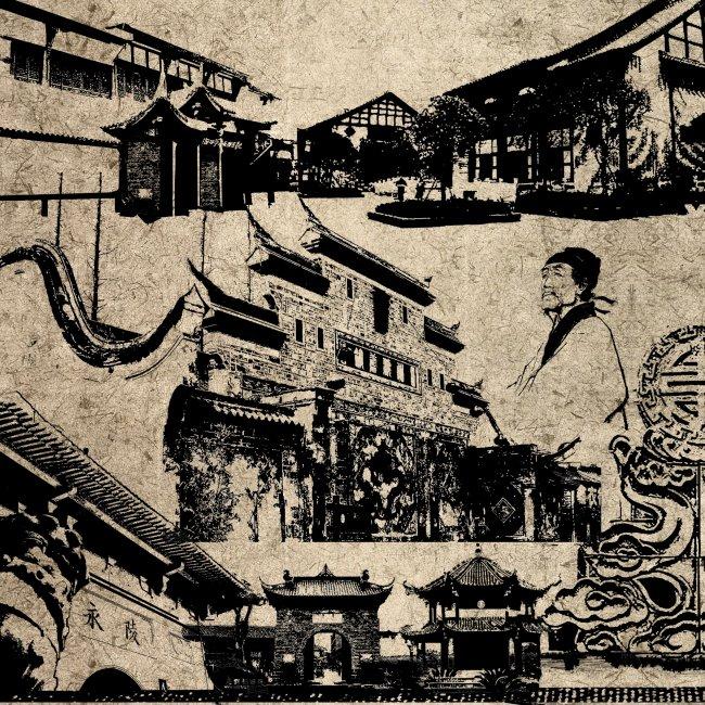 中国古代建筑 中国古代花纹 中国元素 古塔剪影 古城剪影 古代人物
