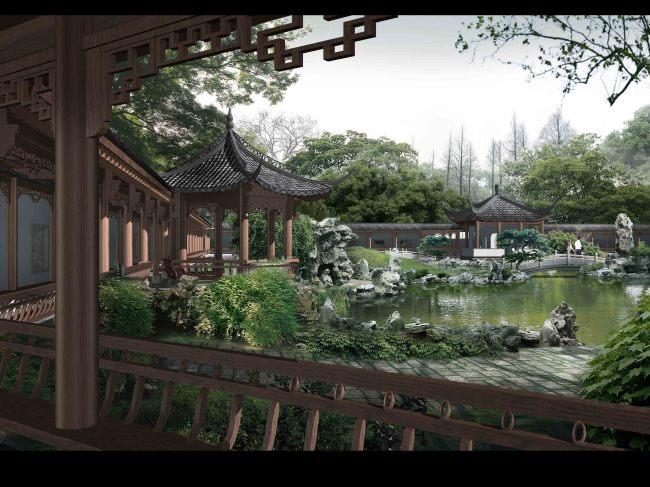 【psd】古典园林亭廊假山水景景观效果图