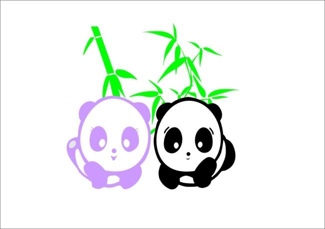 大熊猫卡通矢量图