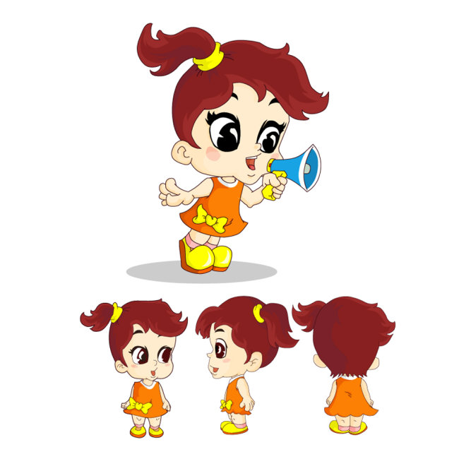 【ai】卡通动漫可爱小女孩形象和三视图