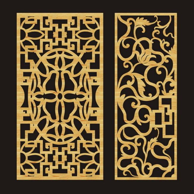 雕刻玻璃 花格门窗 隔断 雕刻镂空图案 雕花镂空图案 花格矢量图 移门