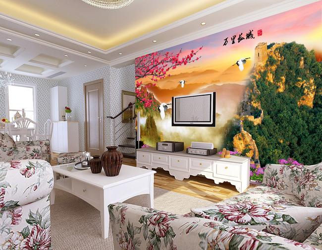 【psd】客厅万里长城风景画电视背景墙图片