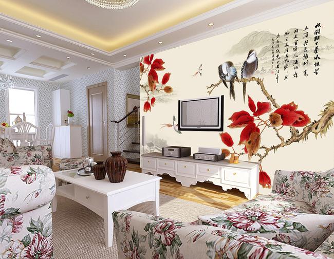 【psd】客厅花鸟国画电视背景墙图片