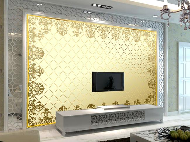 【psd】欧式花纹土豪金墙纸壁纸背景墙