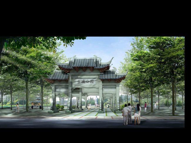 室内装饰|无框画|移门 园林设计 > 公园入口大门仿古景观效果图