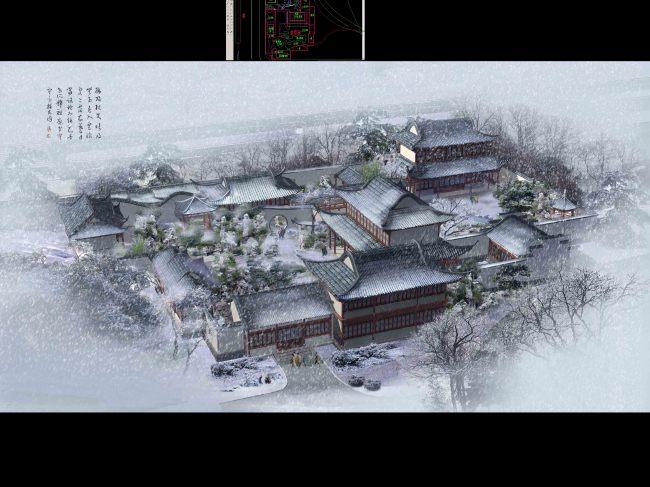 【psd】古建院落建筑景观冬季雪景鸟瞰效果图