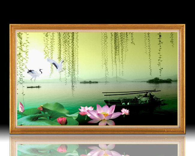 【psd】西湖美景山水风景画