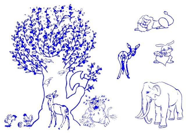 > 大树卡通动物-线条画  关键词: 矢量素材 白描画 素描画 手绘画