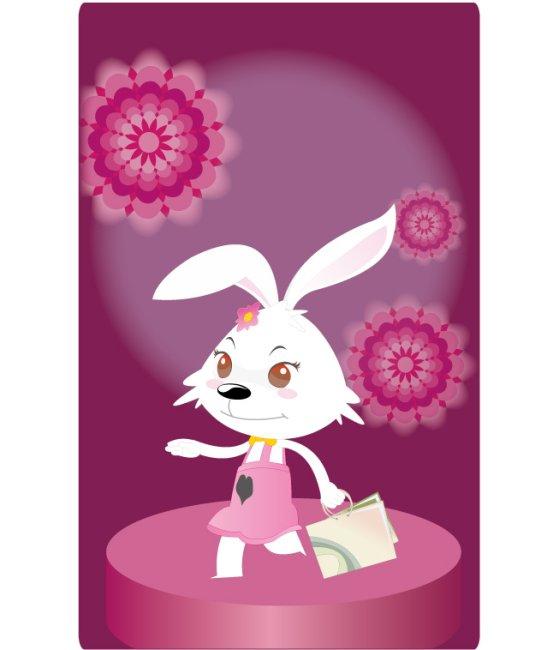 关键词:十二生肖 兔 12生肖之一 小白兔 兔子 小兔子 可爱 兔年 2011 卡通 形象 动物 紫色 裙子 卯兔 时尚 吉祥物 矢量源文件 矢量素材 中国设计 兔年生肖 可爱卡通形象 图图2号 女生版 长耳朵 小动物 俏皮 小兔兔 购物 买东西 手提袋 行走 开心 插图 插画 生肖兔子 卡通形象之图图2号 花朵背景 说明:可爱女生之购物的图图09