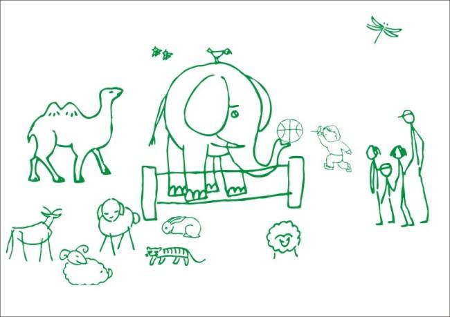 主页 原创专区 插画|素材|元素 商业插画 > 公园看动物-线条画  大象