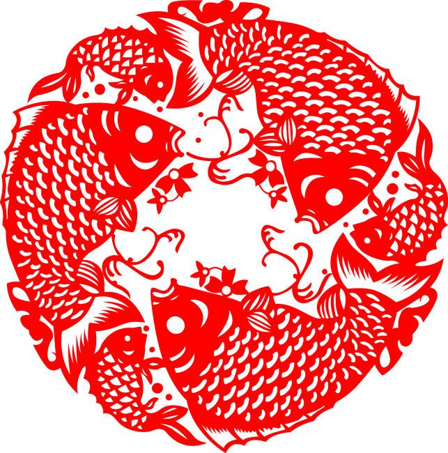 传统 传统图案 传统图案矢量图 新春 新春素材 鱼 双鱼 剪纸 剪纸图案