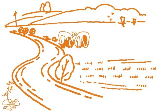 【cdr】高山小路草原-手绘画