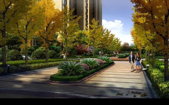 环境素材 树木素材 庭院景观 花园 公园 景观道 说明:居住区景观大道