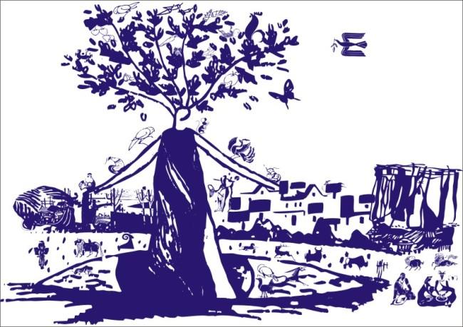 人物刻画 牛 羊 小鸟 老鼠 绿化环保 江南水乡 乡村 房屋 村屋 女人树