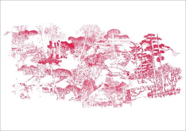 树林深山小屋 简笔画