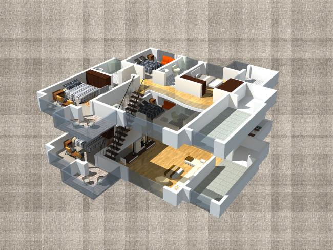 【max】两层户型复式楼房剖面图max加map