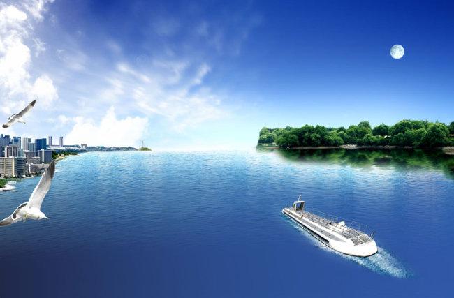 蓝天大海 蓝天背景 明月 轮船 说明:大海蓝天风景画 分享到:qq空间