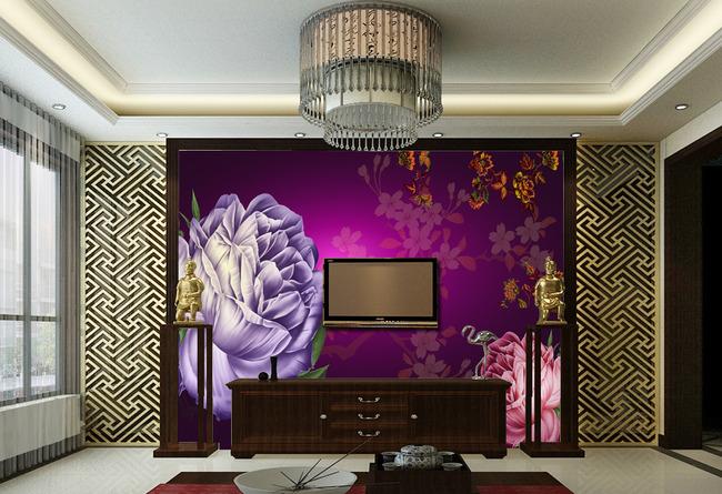 【psd】欧式风格油画玫瑰客厅背景墙图片