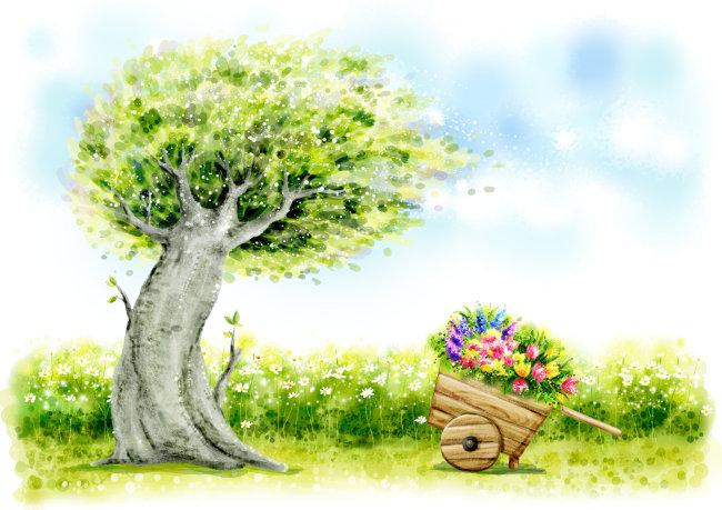 关键词: 美丽风景 风景 春天 插画 天空 白云 花朵 花卉 大树 魔幻