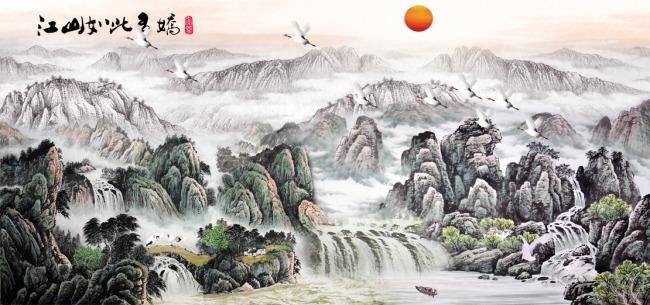 主页 原创专区 室内装饰|无框画|移门 山水风景画 > 长幅巨型山水国画