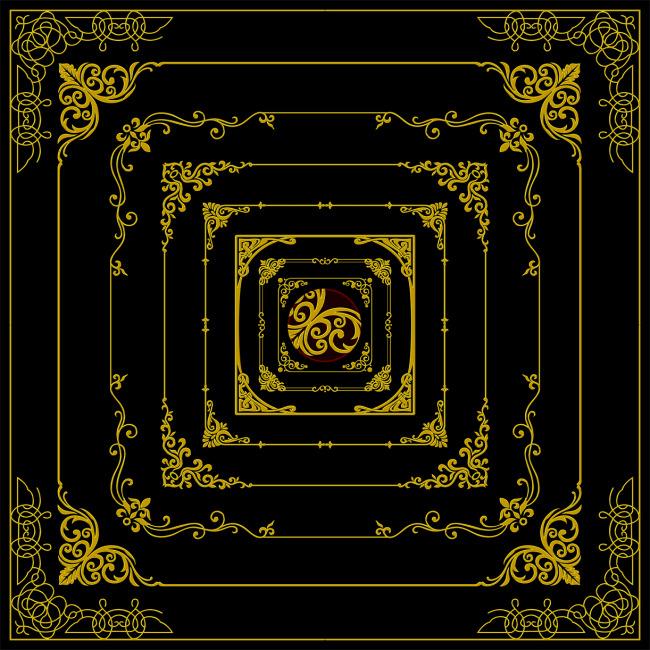 【psd】金属黄金欧式花纹花角边框素材