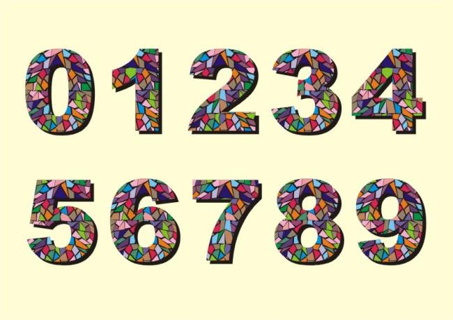 五光十色 五颜六色 水晶字 色彩缤纷 碎石 数字设计 创意数字