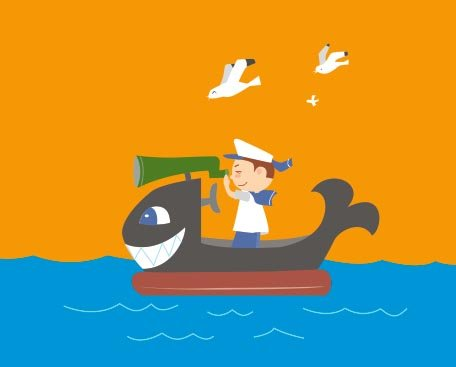 【ai】儿童孩子矢量小孩船划船