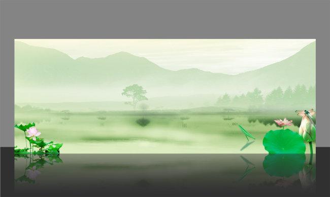 【psd】中国风背景展板模版设计