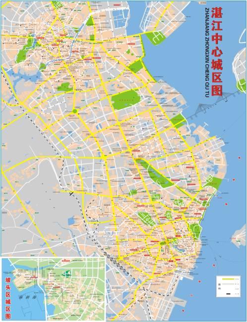 湛江详细地图 霞山地图 赤坎地图 坡头地图 说明:湛江中心地区图