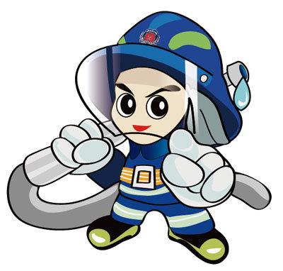 【ai】手绘矢量卡通消防员