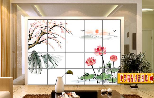【psd】工笔山水风景画客厅电视背景墙
