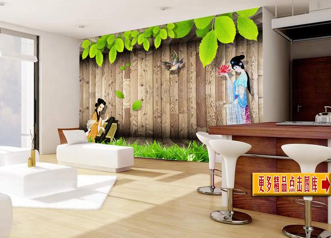 艺术玻璃 瓷砖 中式 图片库 装修图片 树叶 荣华富贵 浮雕画 木墙