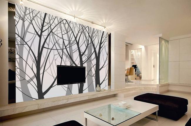 【psd】欧式风格大树剪影壁画墙纸客厅电视背景墙