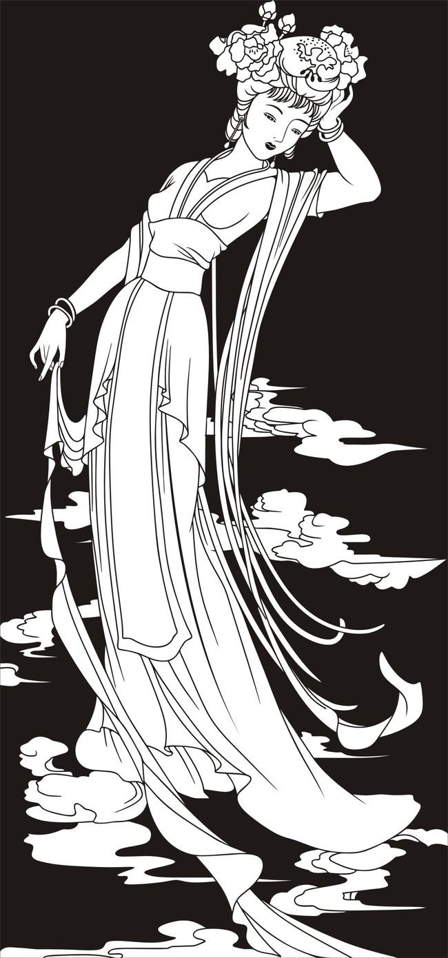 其它插画 > 美女仕女图古代美女  关键词: 美女 仕女图 古代美女 黑白