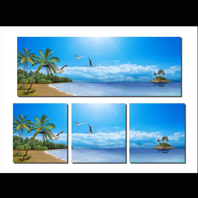 【psd】海边风景无框画图片