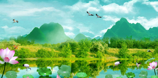 【psd】超高清装饰画山水风景画psd源文件下载
