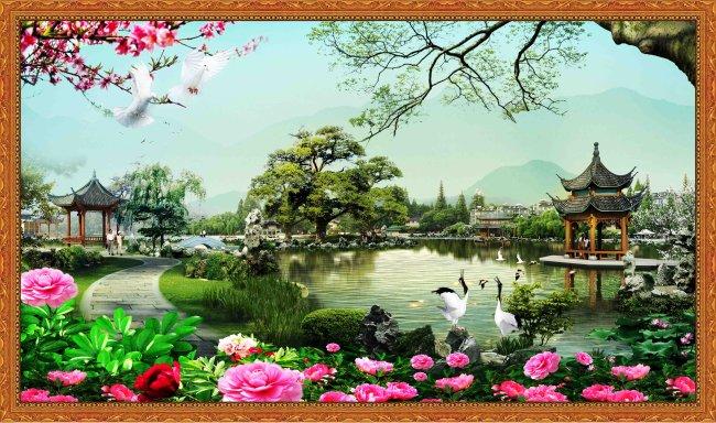 【psd】山水风景画/园林设计