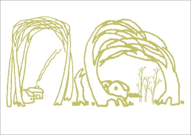 【cdr】山树小村庄-手绘画