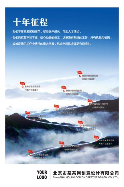 关键词: 企业 发展 十年 历程 征程 展板 模板 设计 背景 中国风 山