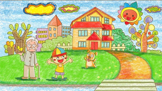 卡通人物 卡通树 卡通房子 卡通太阳 说明:人居和谐蜡笔风格儿童插画