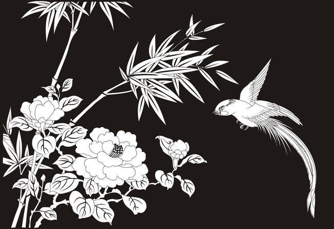 牡丹 竹 鸟 喜鹊 黑白图 线勾图 艺术蚀刻 不锈钢镂空 镂空雕花 艺术