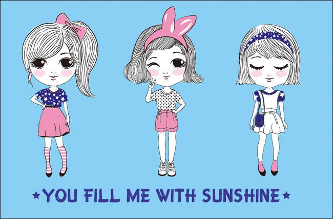 可爱卡通人物女装t恤印花图案ai矢量图  关键词: 三女孩印花图案 可