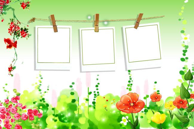 儿童艺术字 花素材 花朵 花藤 可爱儿童相册模板 可爱儿童模板 圈圈花