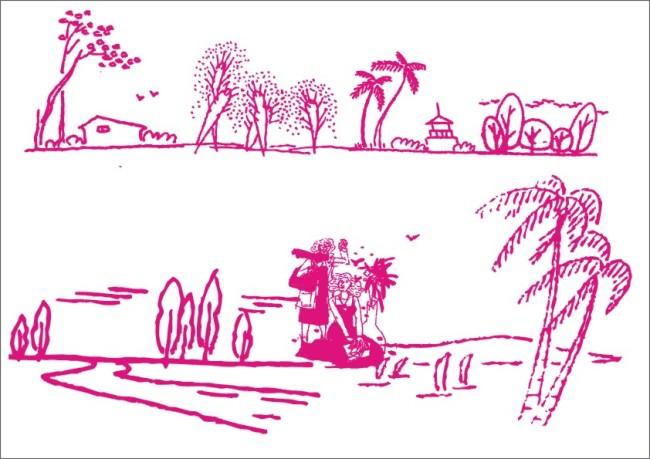 小屋 小房 美女 人物刻画 人物形象 母亲 女儿 椰子树 飞鸟 大雁