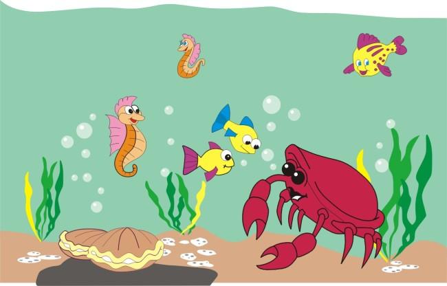 关键词: 海底世界 贝壳 螃蟹 鱼 海马 动物 矢量图 说明:海底世界