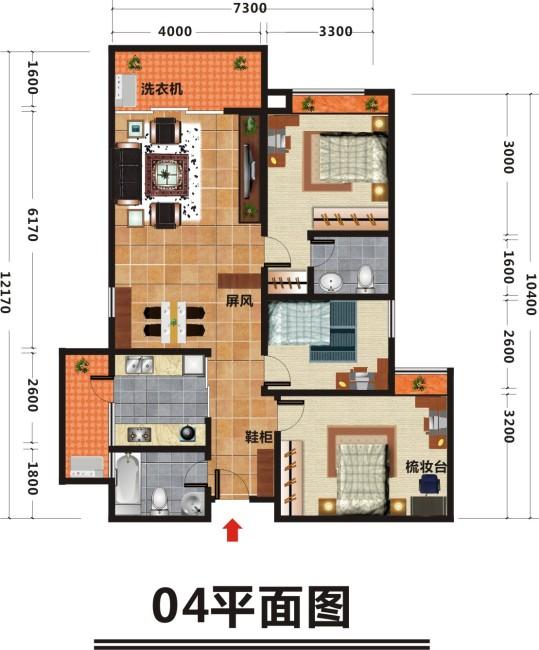 【cdr】分院住宅室内个人平面设计图1浙江大学建筑设计研究院上海彩色图片