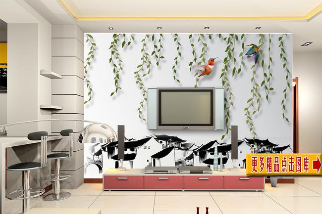 室内装饰|无框画|移门 背景墙 > 柳条小鸟水墨画江南房屋中国风背景墙