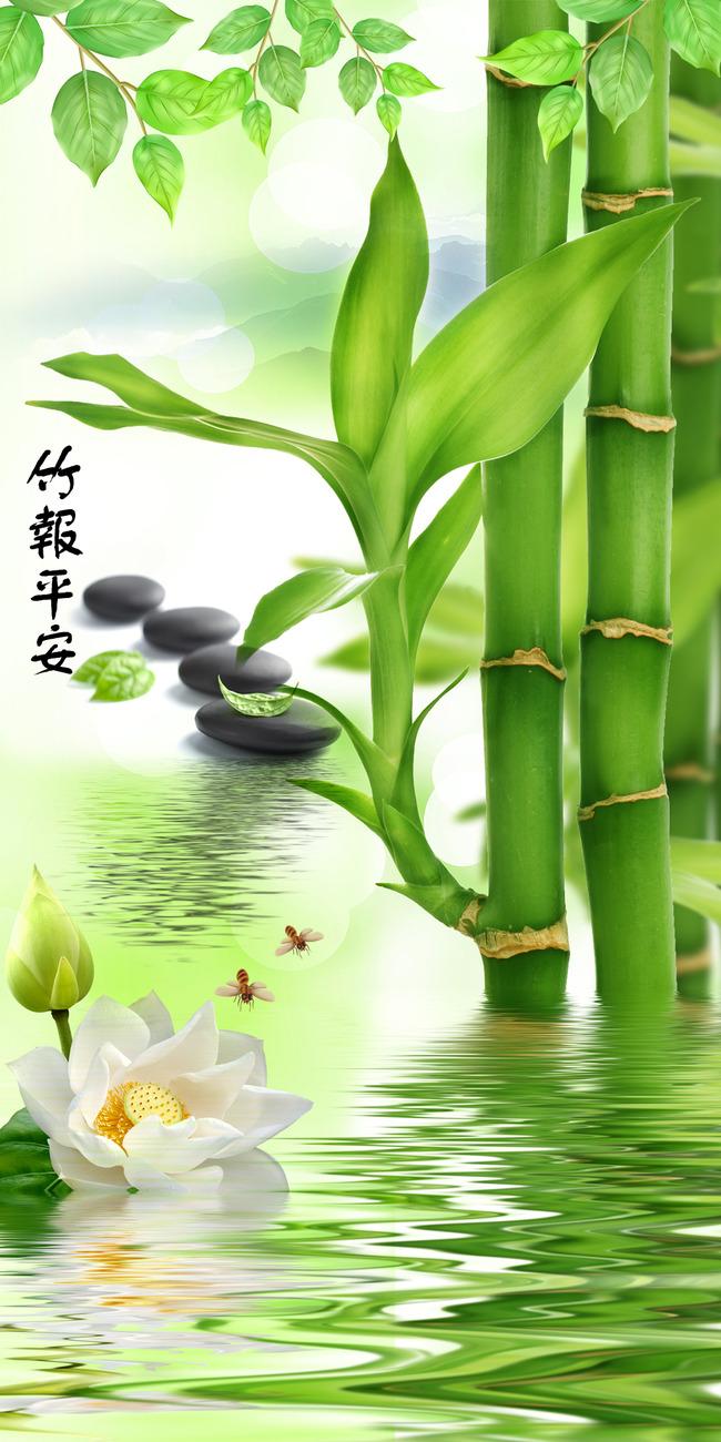 清新绿色竹子玄关门厅背景墙  关键词: 山水风景 玄关背景 装修背景墙